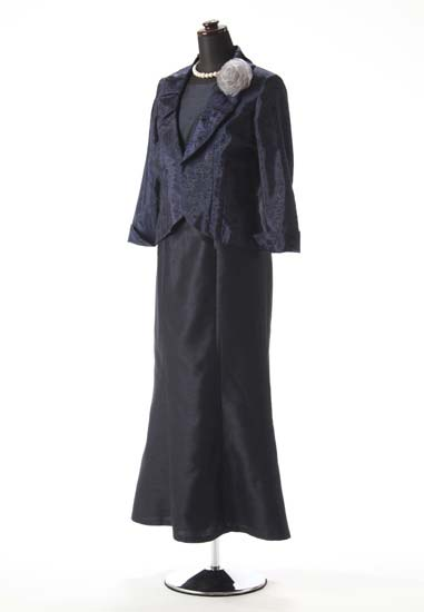 紺シャンタンシンプルマーメイド アンクル & 紺紫 黒バラフロッキー タックショールカラー シルバーボタン